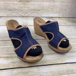 Clarks Elements Wedge Denim Blue Cork Sandal Heels